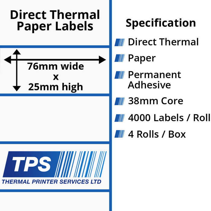 76 x 25mm Direct Thermal Paper Labels With Permanent Adhesive on 38mm Cores - TPS1175-20