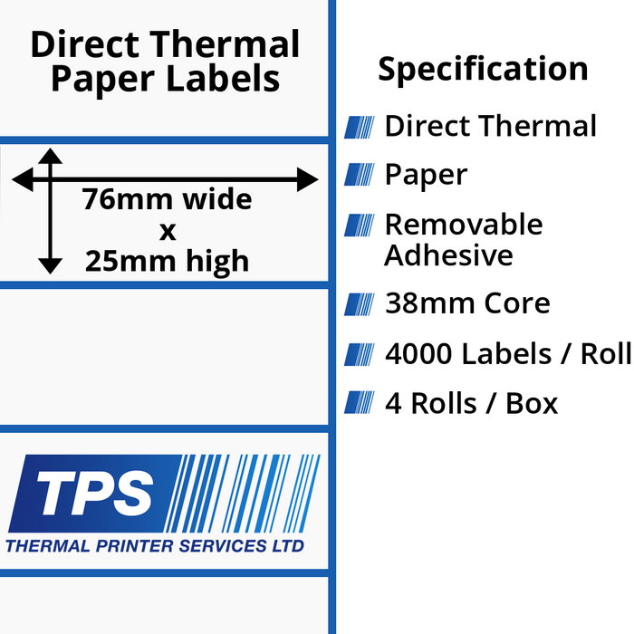 76 x 25mm Direct Thermal Paper Labels With Removable Adhesive on 38mm Cores - TPS1175-22