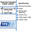 Image of 76 x 48mm Thermal Transfer Paper Labels With Removable Adhesive on 25mm Cores - TPS1186-23