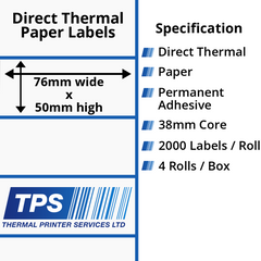 76 x 50mm Direct Thermal Paper Labels With Permanent Adhesive on 38mm Cores - TPS1190-20