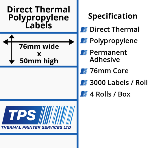 76 x 50mm Direct Thermal Polypropylene Labels With Permanent Adhesive on 76mm Cores - TPS1191-24