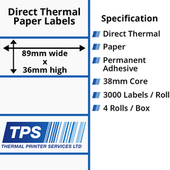 89 x 36mm Direct Thermal Paper Labels With Permanent Adhesive on 38mm Cores - TPS1196-20