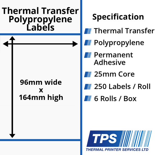 96 x 164mm Gloss White Thermal Transfer Polypropylene Labels With Permanent Adhesive on 25mm Cores - TPS1201-26