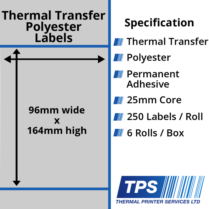 96 x 164mm Silver Polyester Labels With Permanent Adhesive on 25mm Cores - TPS1201-27