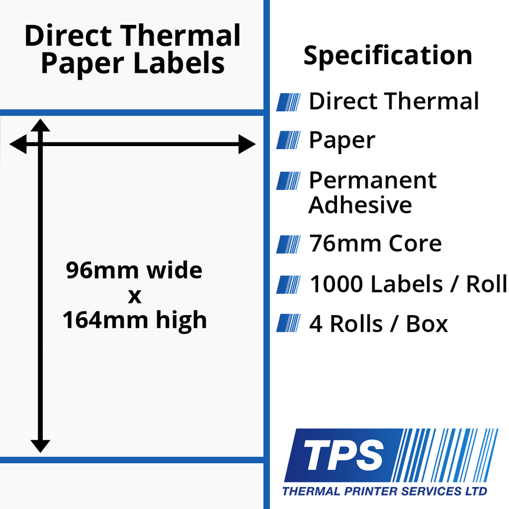 96 x 164mm Direct Thermal Paper Labels With Permanent Adhesive on 76mm Cores - TPS1203-20