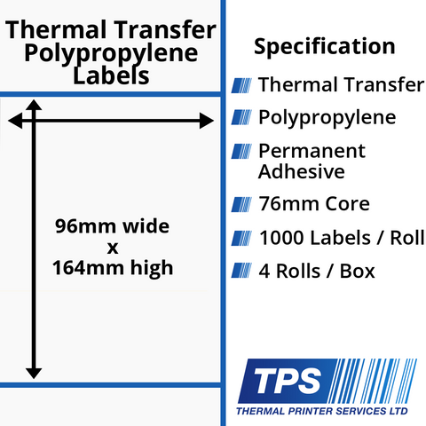 96 x 164mm Gloss White Thermal Transfer Polypropylene Labels With Permanent Adhesive on 76mm Cores - TPS1203-26