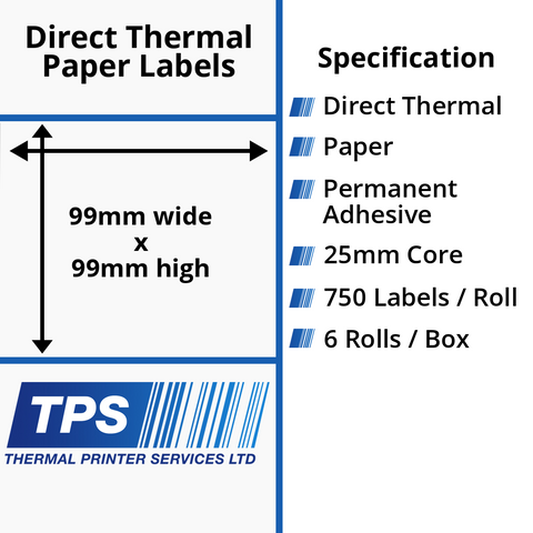 99 x 99mm Direct Thermal Paper Labels With Permanent Adhesive on 25mm Cores - TPS1210-20