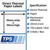 Image of 99 x 99mm Direct Thermal Paper Labels With Permanent Adhesive on 25mm Cores - TPS1210-20