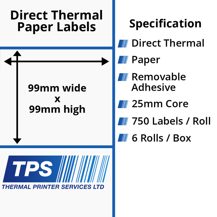 99 x 99mm Direct Thermal Paper Labels With Removable Adhesive on 25mm Cores - TPS1210-22