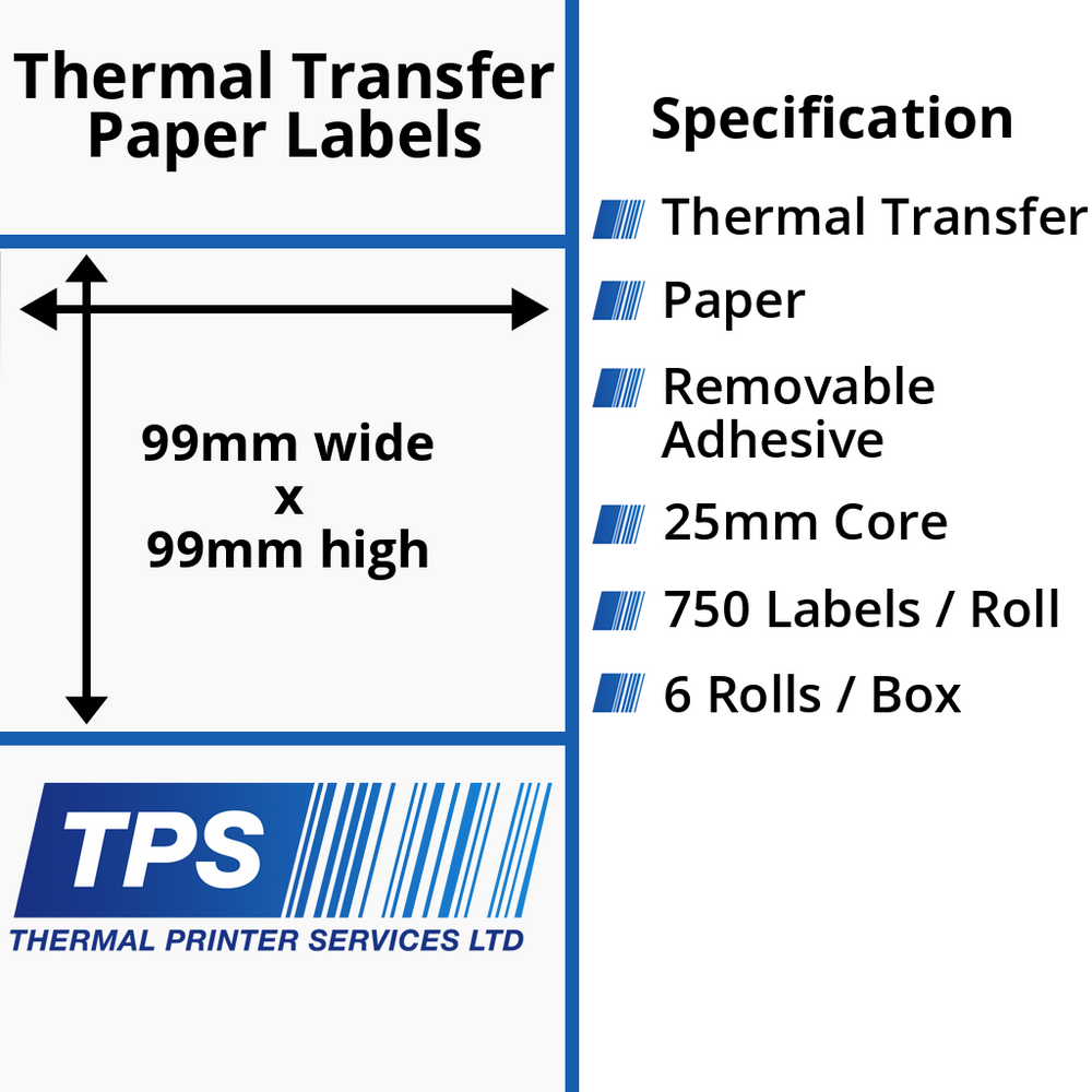 99 x 99mm Thermal Transfer Paper Labels With Removable Adhesive on 25mm Cores - TPS1210-23
