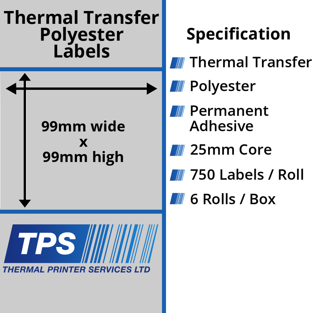 99 x 99mm Silver Polyester Labels With Permanent Adhesive on 25mm Cores - TPS1210-27