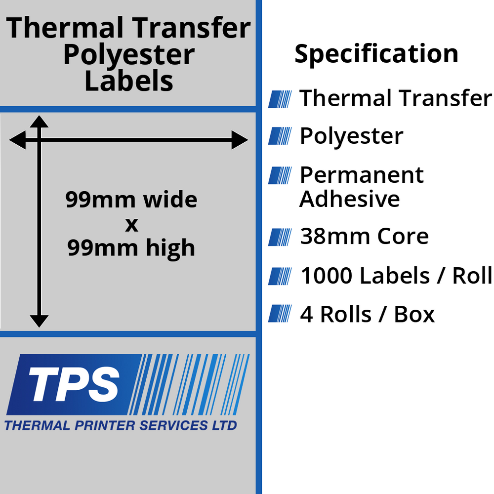 99 x 99mm Silver Polyester Labels With Permanent Adhesive on 38mm Cores - TPS1211-27