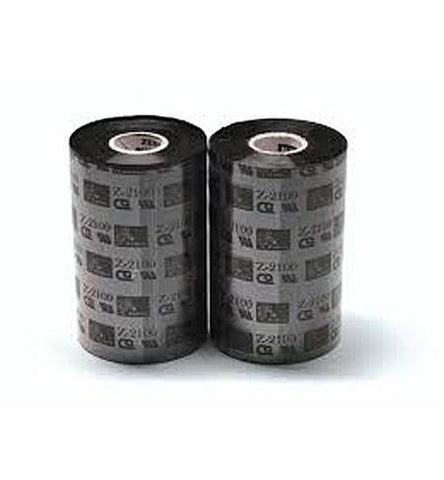 Zebra 03400BK11045 - Wax/Resin Ribbon, 110mmx450m, 3400; High Performance, 25mm core, 6/box