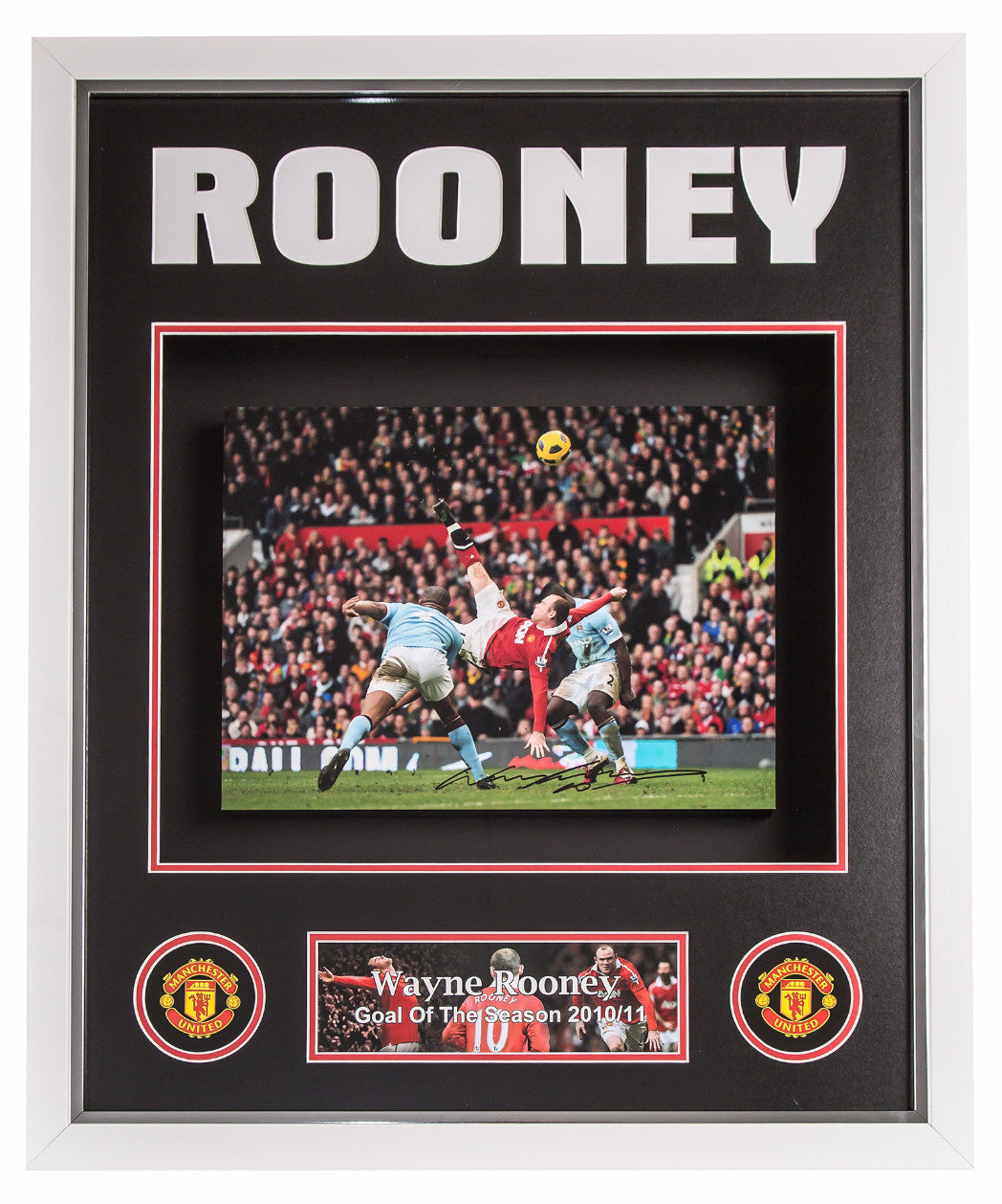 Wayne Rooney Signed Manchester United Overhead-Kick Canvas - Premium Framed