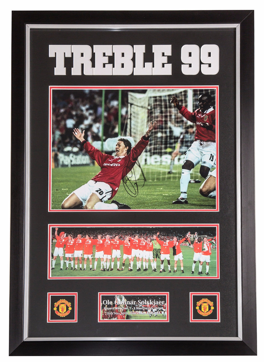 Ole Gunnar Solskjær Signed Manchester United 1999 Treble Winning Photo - Premium Framed