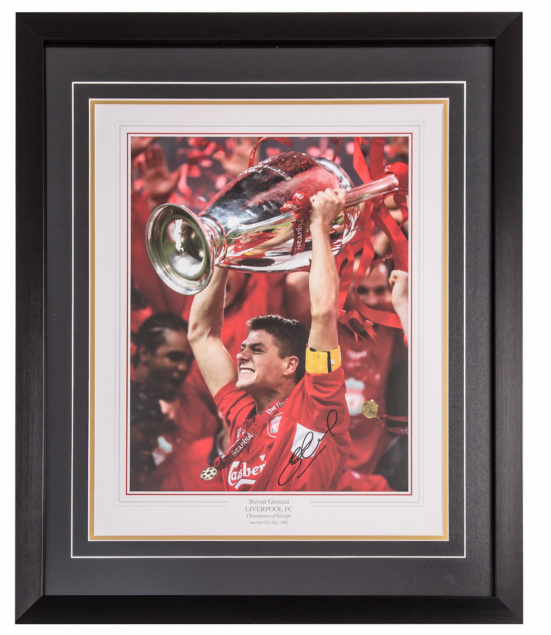 Steven Gerrard Signed Liverpool Champions League Winners Photo - Premium Framed
