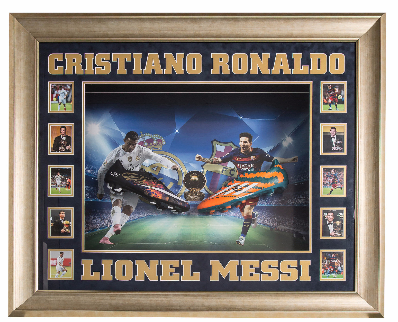 Lionel Messi and Cristiano Ronaldo Hand Signed Football Boots - Barcelona - Real Madrid - Premium Framed