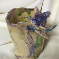 Pottery Art Dragonfly Cup