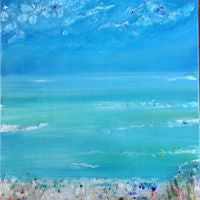 Glass Shard Mosaic Seascape on Canvas  (SOLD!)