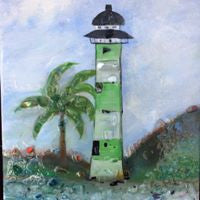 Glass Shard Mosaic Lighthouse on Canvas  (SOLD!)