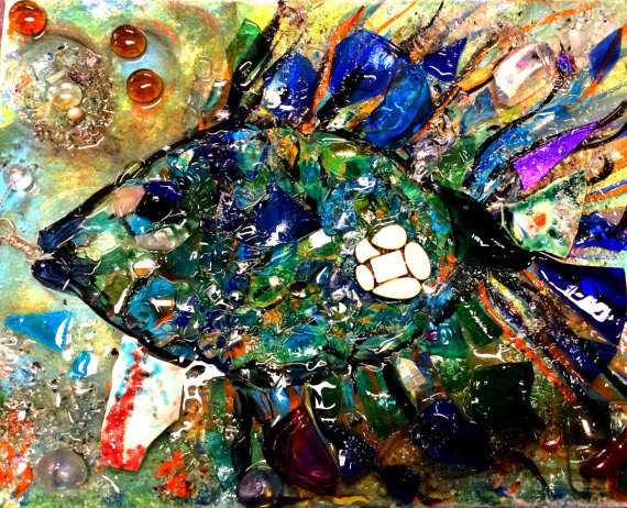Glass Shard Mosaic Tropical Fish on Canvas  (SOLD!)