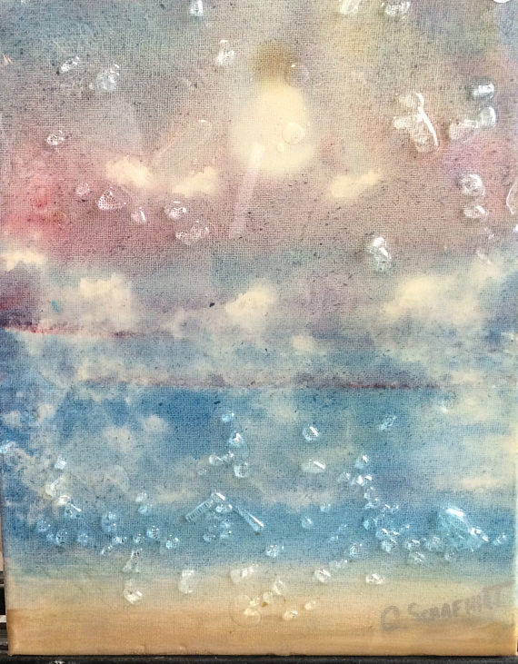 Glass Shard Mosaic Seascape on Canvas (SOLD)