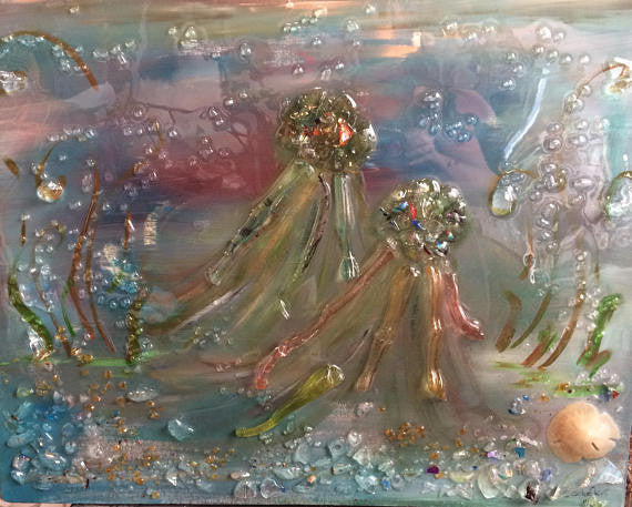 Glass Shard Mosaic Jellyfish on Canvas (SOLD)
