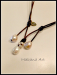 White n Cream Italian Style Adjustable Pearl Leather Necklace