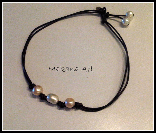 Marie - White with Cream Pearls and Leather Necklace