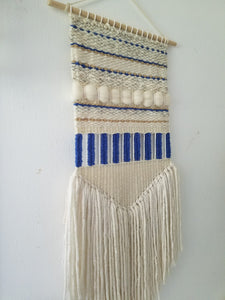 "Woven weaving wall hanging Fiber art ""Indigo lines"""