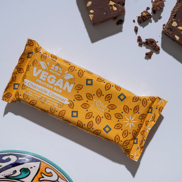 Tom Oliver - Vegan High Protein Bars Pack of 20 (Chocolate Caramel)
