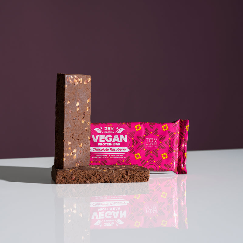 Tom Oliver - Vegan High Protein Bars Pack of 20 (Chocolate Raspberry)