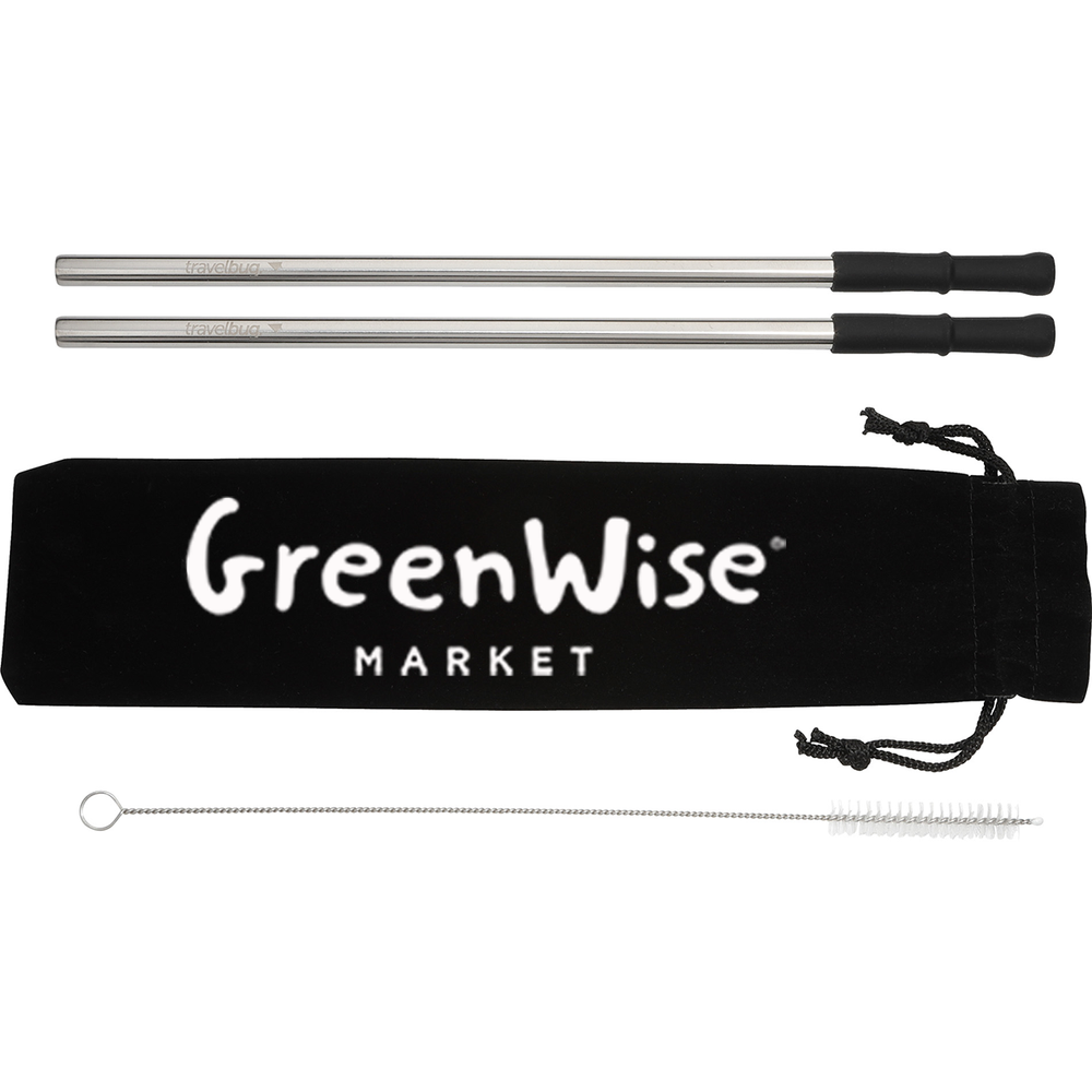 *GreenWise Reusable Stainless steel Straw Set with Brush