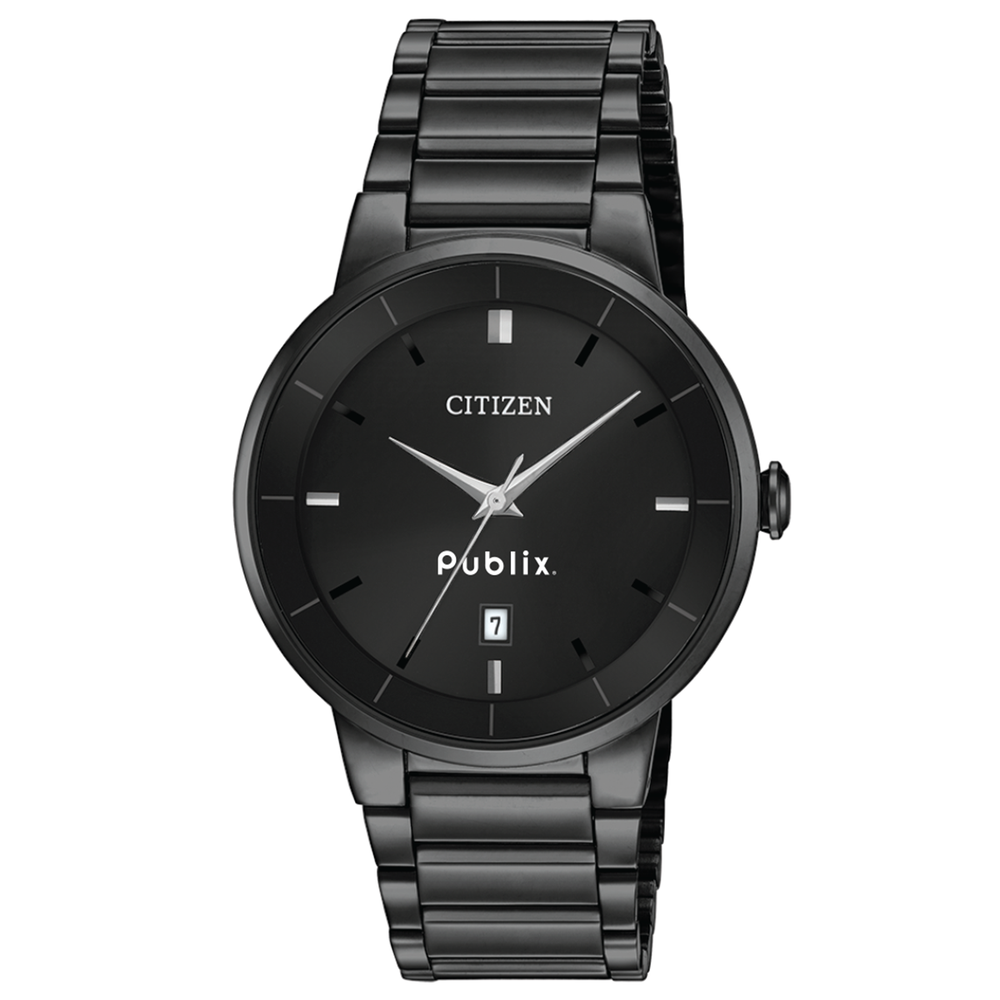 Citizen Men's Quartz Watch, Black Ion Plated Stainless Steel Case and Bracelet