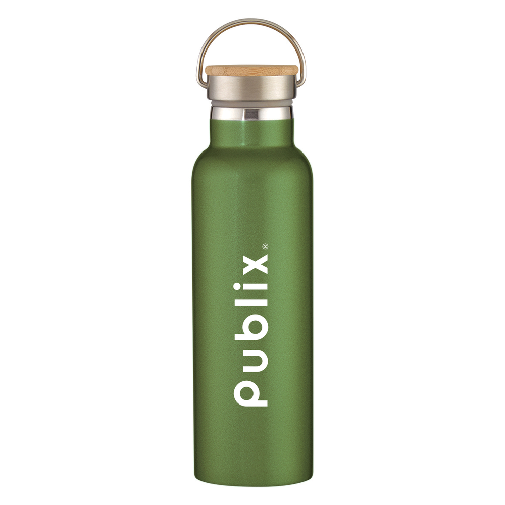 Tipton Stainless Steel Bottle With Bamboo Lid, 21 OZ.