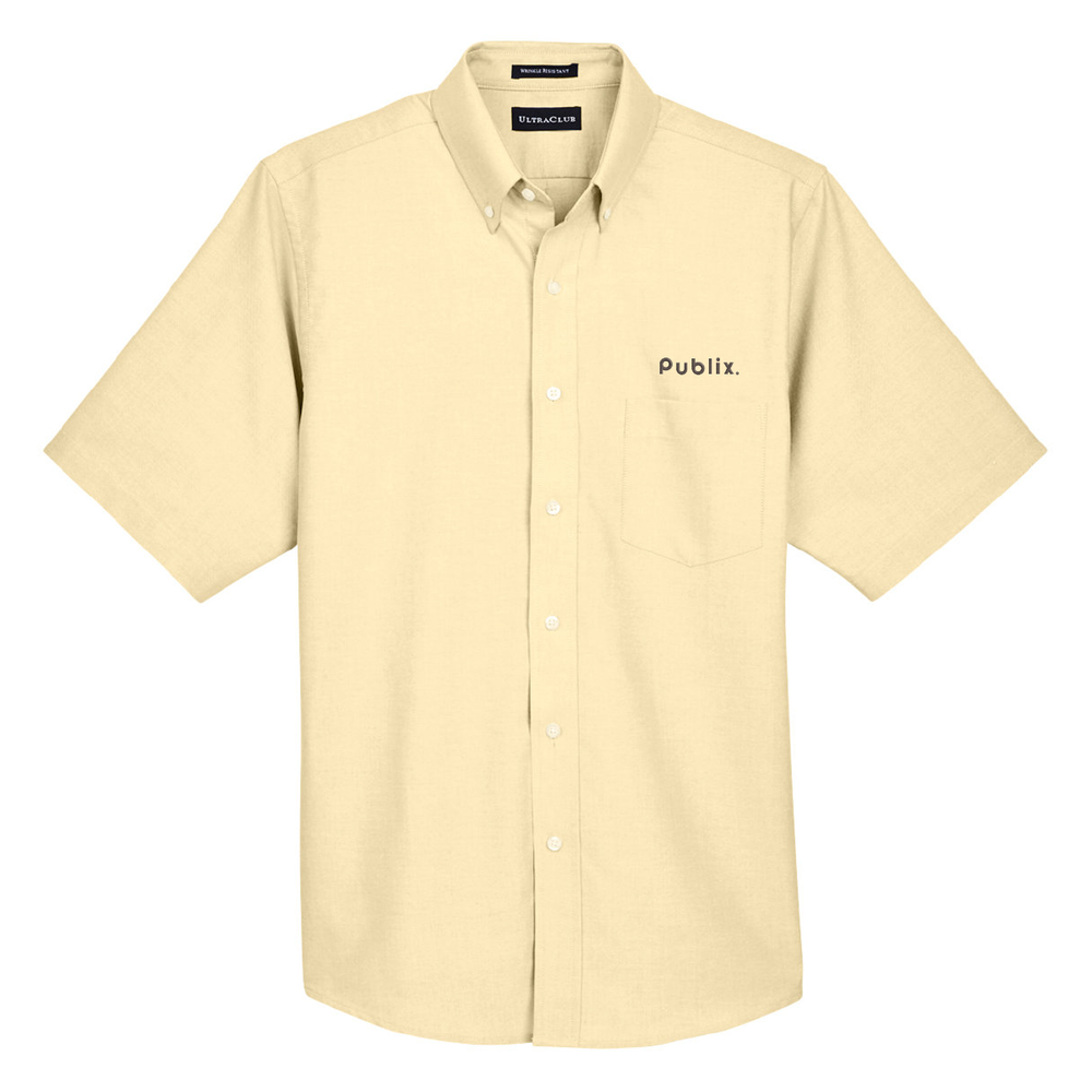 UltraClub Men's Classic Wrinkle-Resistant Short-Sleeve Oxford - Butter