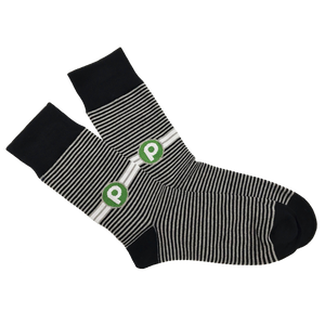 Publix Striped Knitted Dress Socks - Black and Grey with Brandmark