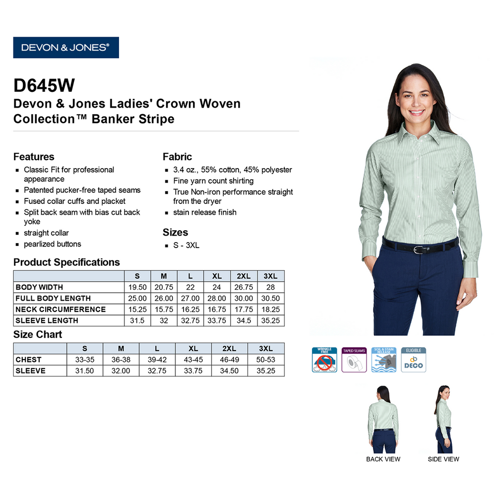 Devon & Jones Ladies' Crown Woven Collection™Banker Stripe