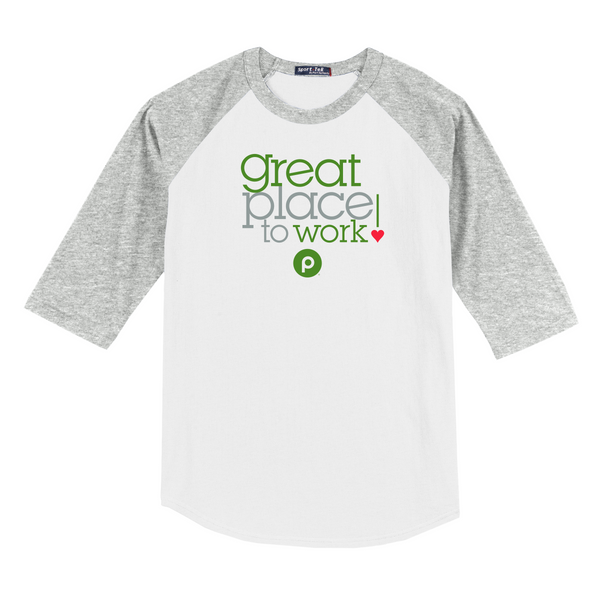 Great Place to Work! Baseball Jersey - Heather Grey/White