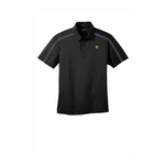 Clearance Port Authority Silk Touch Performance Colorblock Stripe Polo - Black Steel/Grey