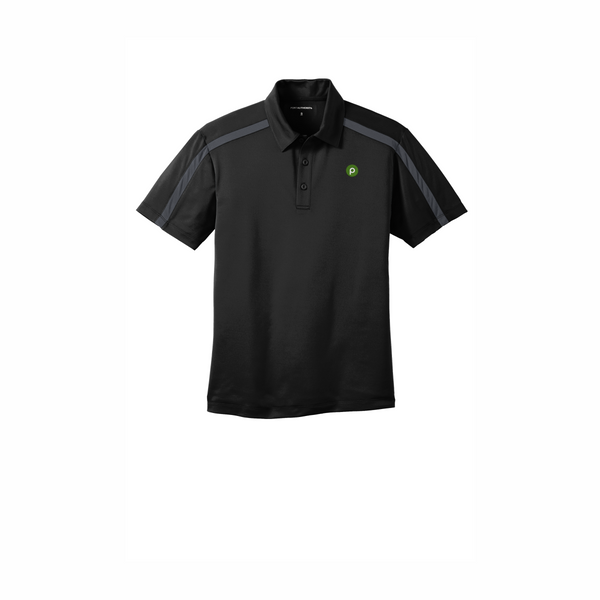Port Authority Silk Touch Performance Colorblock Stripe Polo - Black Steel/Grey