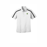 Clearance Port Authority Silk Touch Performance Colorblock Stripe Polo - White/Black