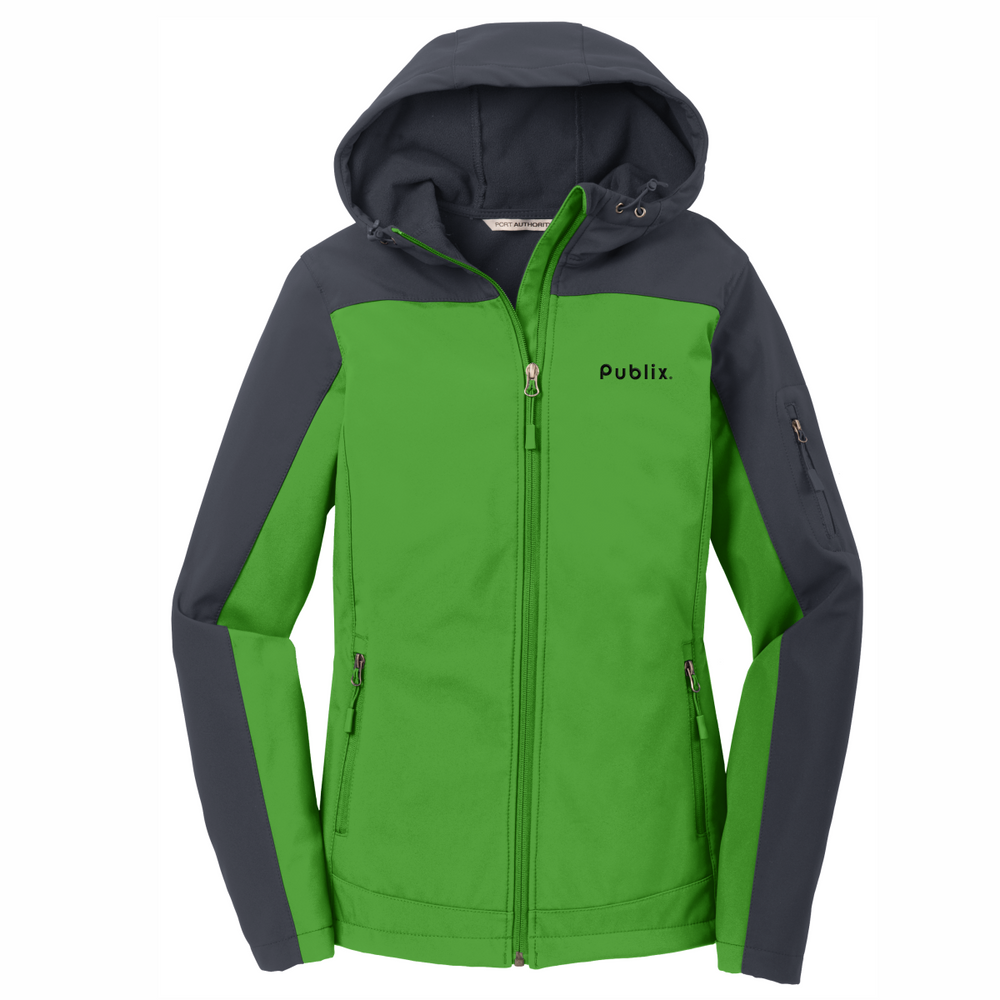 Clearance Port Authority® Ladies Hooded Core Green/Grey Soft Shell Jacket