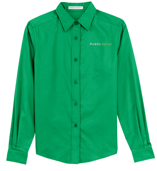 """Publix Serves"" Women's Green Long Sleeve Twill Shirt"