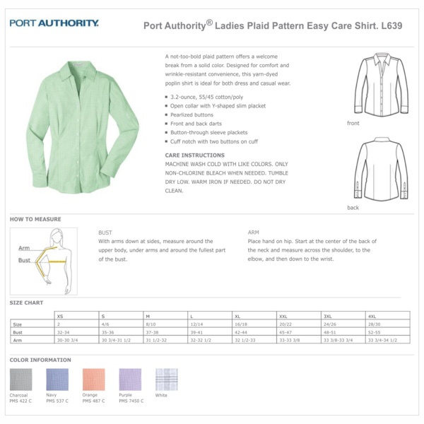 Port Authority® Ladies Plaid Pattern Easy Care Shirt - Navy/Light Grey