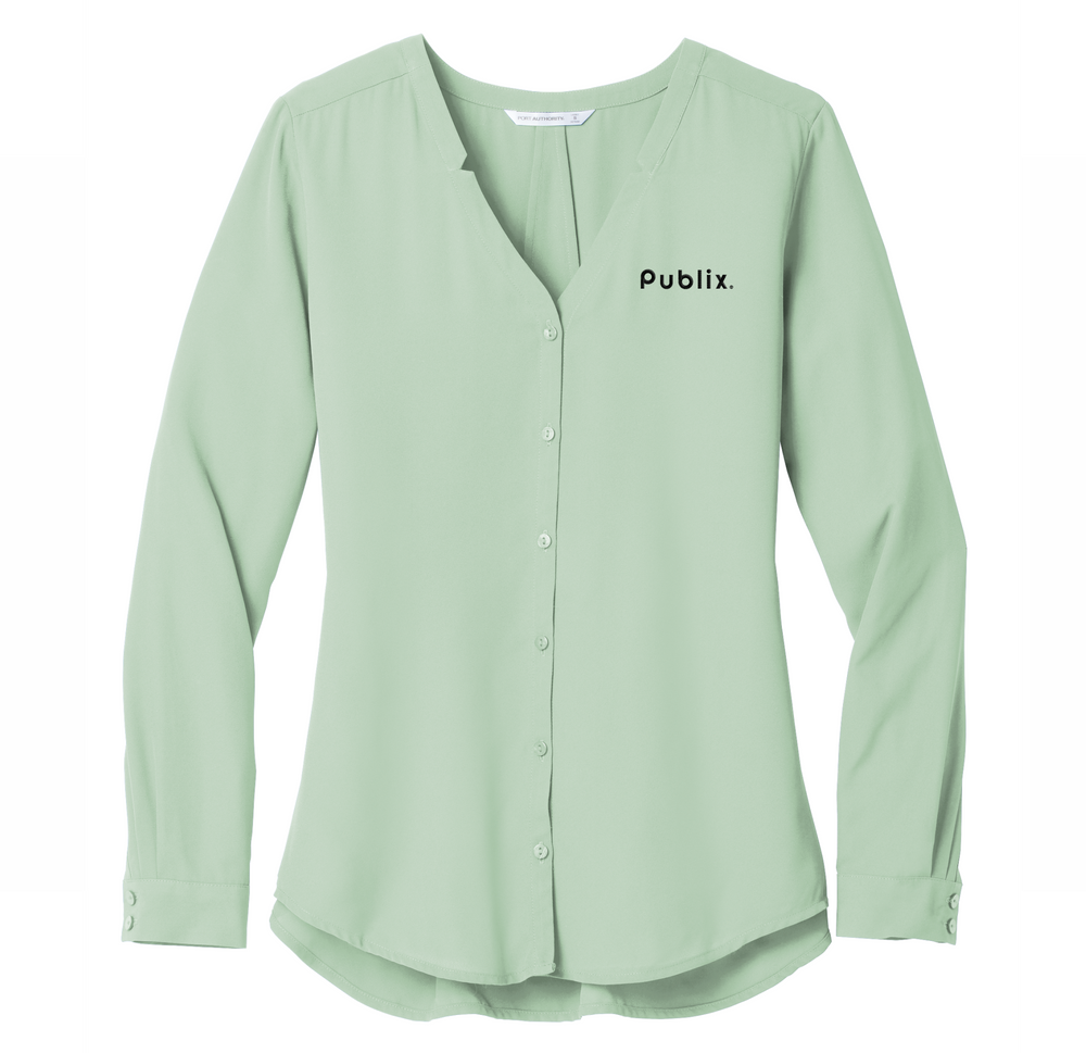 New!  Ladies Long Sleeve Button-Front Blouse  - Sage Green