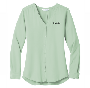 Ladies Long Sleeve Button-Front Blouse  - Sage Green