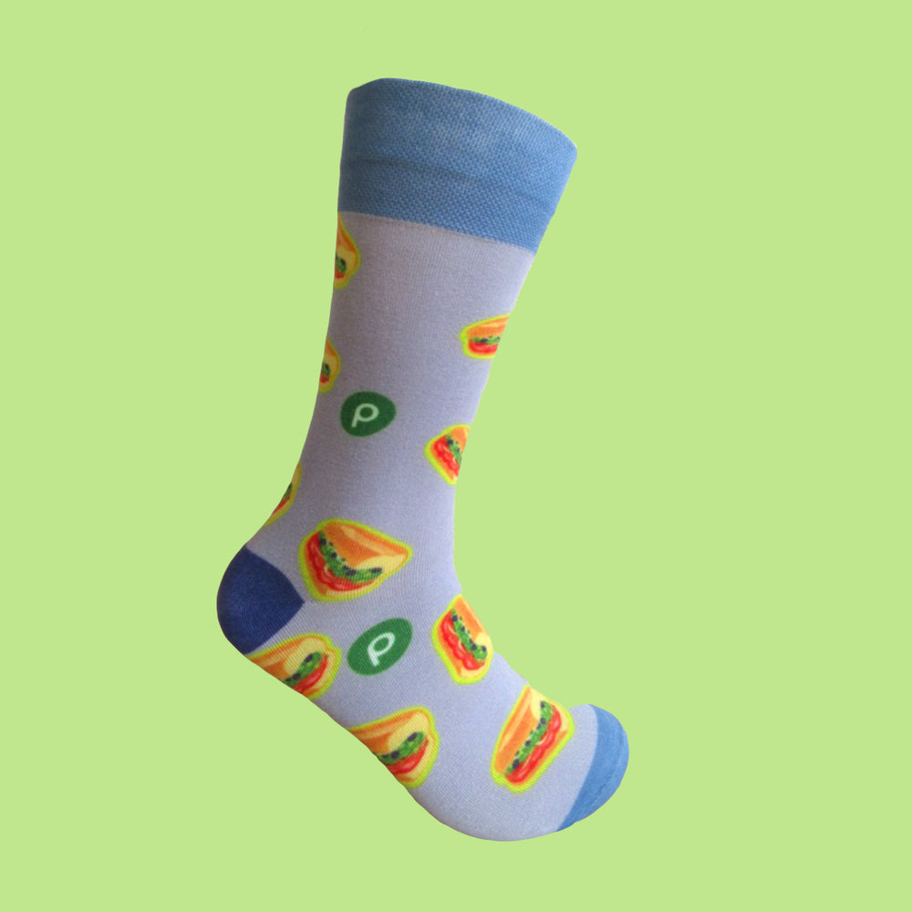 Sub Print Design Socks: Blue/Grey