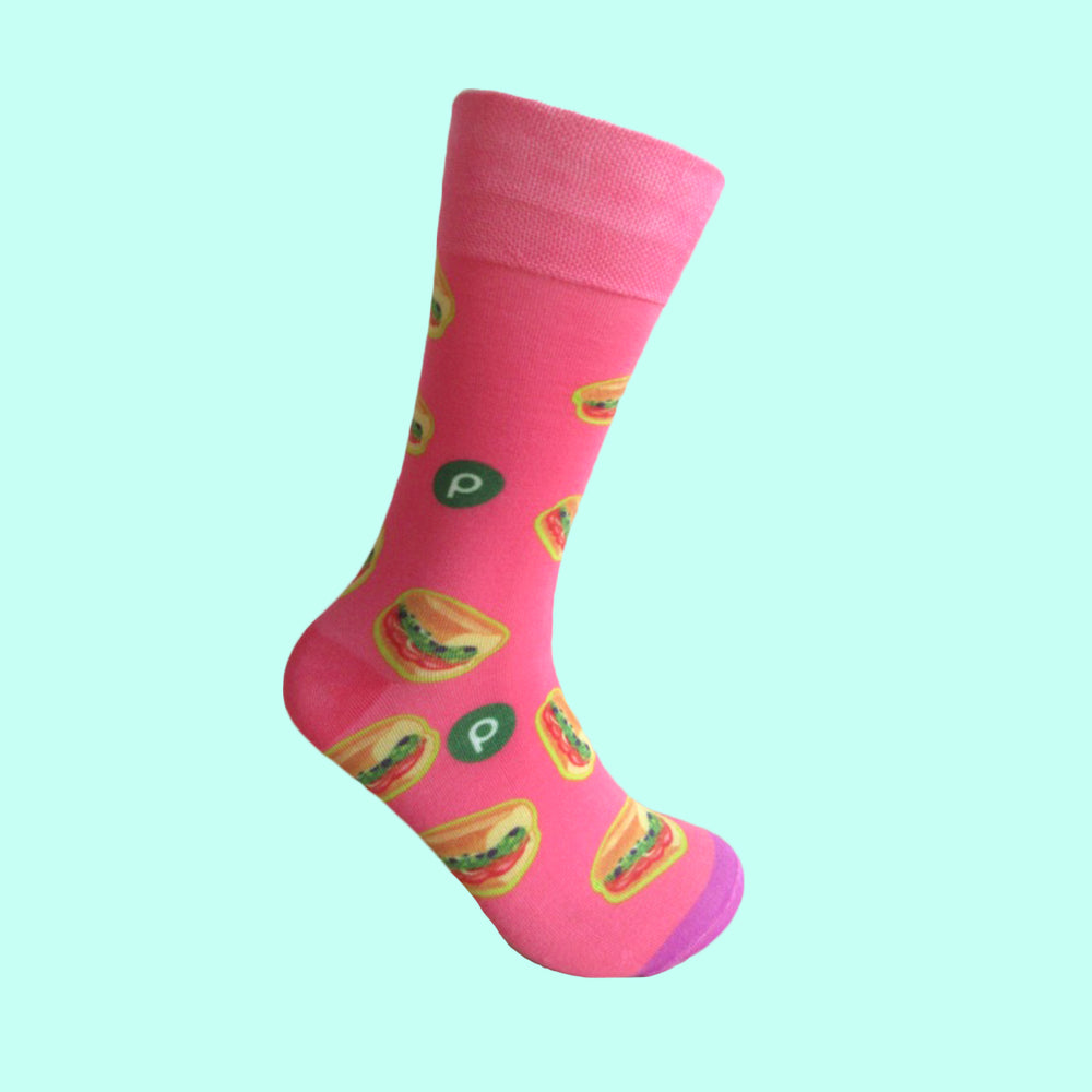 Sub Print Design Socks: Pink