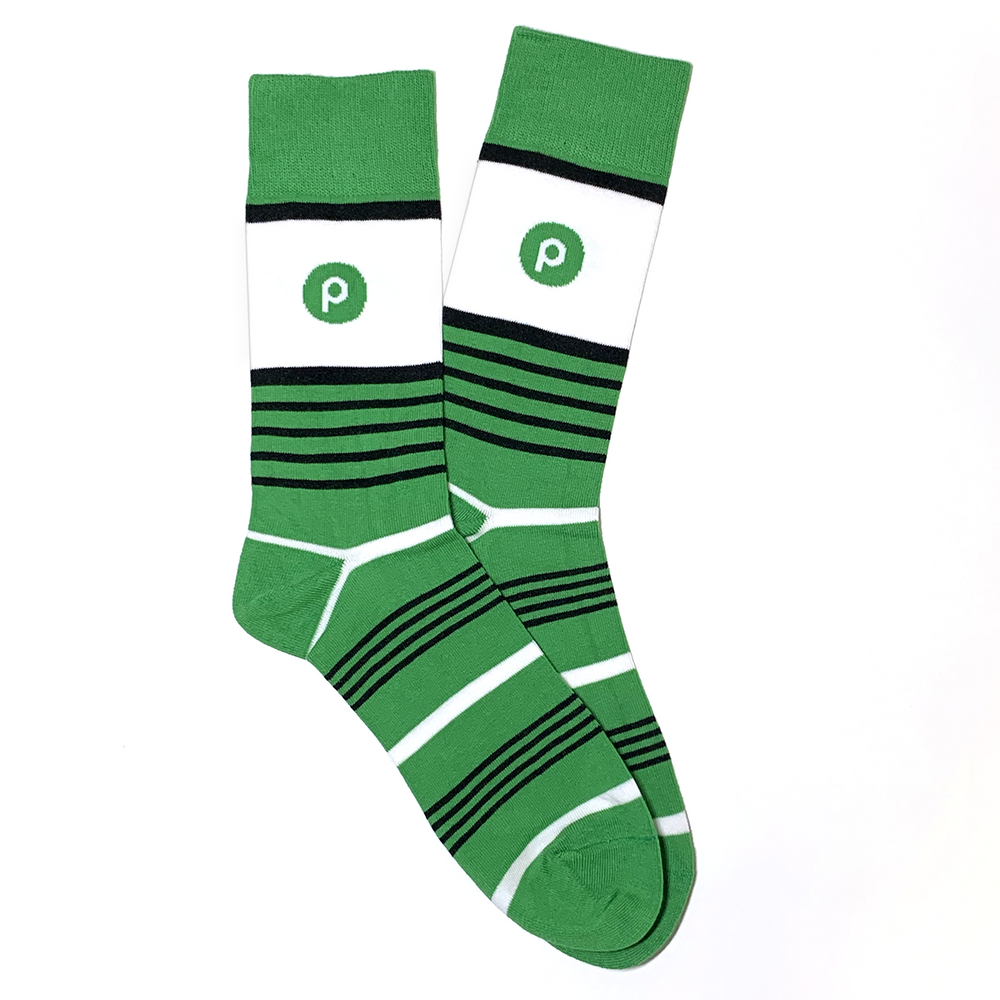 Fine Dress Socks - Green Stripe